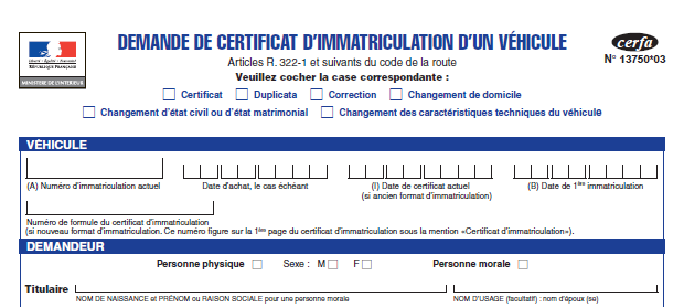 Certificat d 39 immatriculation for Declaration changement d adresse